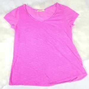 Loft Pink Sunwash T V Neck Burnout Tee Shirt